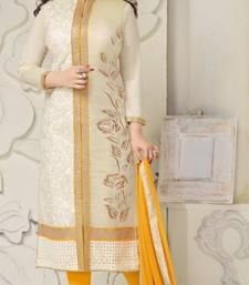 Buy cream embroidered cotton unstitched salwar with dupatta cotton-salwar-kameez online