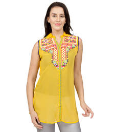 Buy Yellow embroidered Georgette tunics tunic online