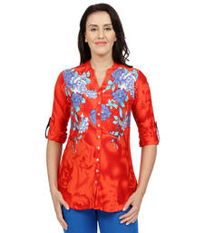 Buy Red printed Rayon tunics tunic online