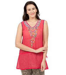 Buy Coral embroidered Georgette tunics tunic online