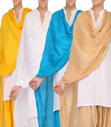 Buy Womens Cottage Combo Pack Solid (Plain) Pure Cotton Dupatta with Designer Lace stole-and-dupatta online