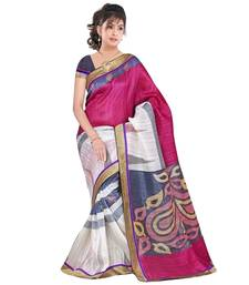 Buy Pink + White printed cotton saree with blouse bhagalpuri-silk-saree online