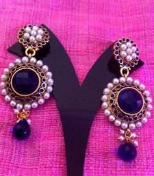Buy Bold blue stones pearl flower earring c287b gifts-for-girlfriend online