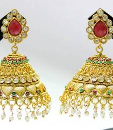 Buy ANTIQUE GOLDEN RED GREEN N WHITE STONES BIG JHUMKA Other online