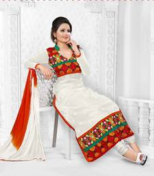 White cotton embroidered semi stitched salwar with dupatta shop online