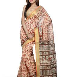 Buy Maroon printed cotton saree with blouse chanderi-saree online