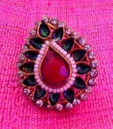 Buy Adjustable tear drop maroon green flower ring v671 Ring online