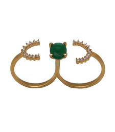 Buy Green stone double ring Ring online