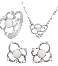 Buy White Flower Rhodium Plated Pendant Set with Ring for Women jewellery-combo online