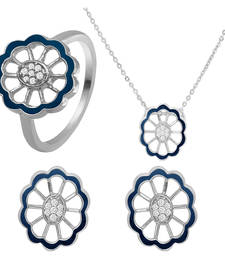 Buy Blue Floral Rhodium Plated Pendant Set with Ring for Women jewellery-combo online