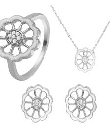 Buy White Floral Rhodium Plated Pendant Set with Ring for Women jewellery-combo online