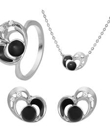 Buy Black Heart Rhodium Plated Pendant Set with Ring for Women jewellery-combo online
