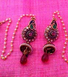 Buy Red green peacock with hearts at jhumka kashmiri style earring  v658 jhumka online