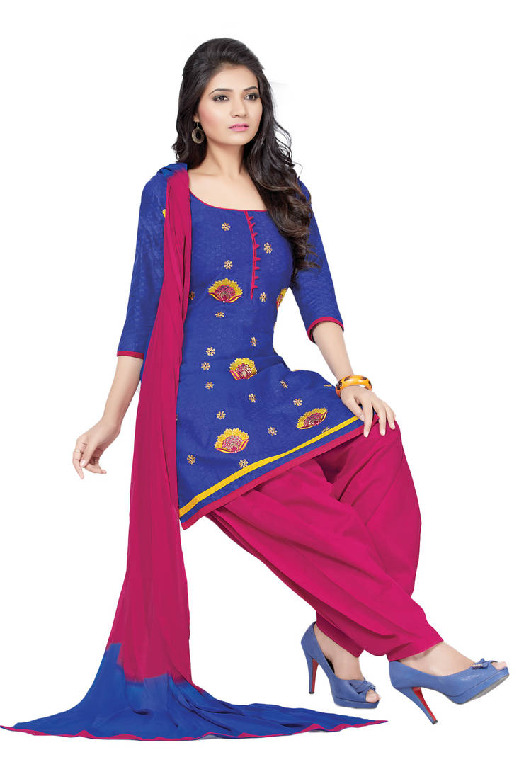 embroidery suits maroon blue cotton silk embroidery suit enhanced with