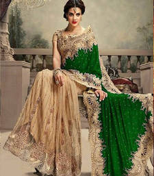 Buy Cream and Green embroidered net+velvet saree with blouse party-wear-saree online