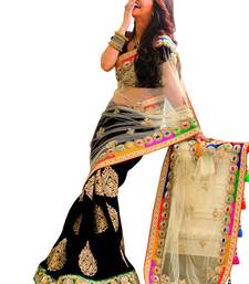 Buy Black+Embroidery Work+Chiffon And Net+Fashion+Saree+With Blouse designer-embroidered-saree online