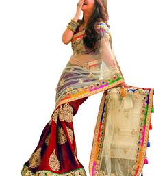 Buy Red+Embroidery Work+Chiffon And Net+Fashion+Saree+With Blouse designer-embroidered-saree online