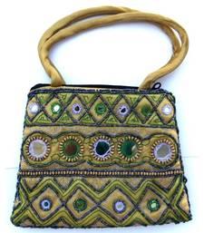 Buy Brown color silk bag handbag online