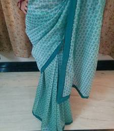 Buy Green and green plain chanderi saree with blouse cotton-saree online