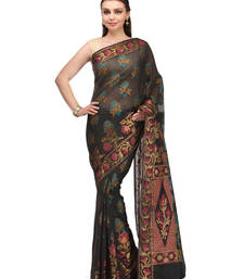 Buy black woven faux cotton saree with blouse banarasi-saree online