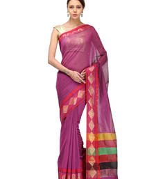 Buy magenta woven chanderi saree with blouse banarasi-saree online