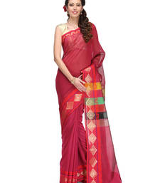 Buy rani pink woven chanderi saree with blouse banarasi-saree online