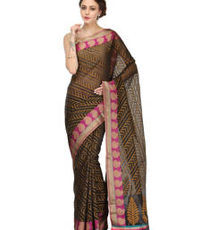 Buy black woven blended cotton saree with blouse banarasi-saree online