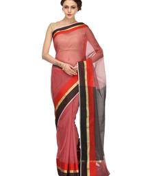 Buy maroon woven cotton saree with blouse banarasi-saree online