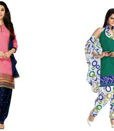 Buy Pink and green embroidered and printed cotton unstitched salwar with dupatta salwar-combo online
