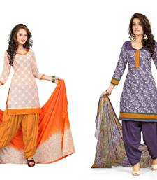 Buy Cream and violet embroidered and printed jute and polycotton unstitched salwar with dupatta salwar-combo online