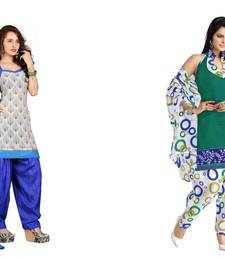 Buy Cream and green embroidered and printed jute and polycotton unstitched salwar with dupatta salwar-combo online