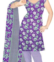 Buy Blue printed art silk unstitched salwar with dupatta salwar-kameez-below-300 online