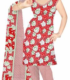 Buy Red printed art silk unstitched salwar with dupatta salwar-kameez-below-300 online