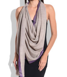 Buy Grey Pure Wool Shawl with Purple Silk Border shawl online