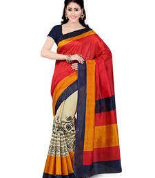 Buy Beige, Red printed art silk saree with blouse bhagalpuri-silk-saree online