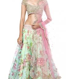 Buy multicolor embroidred net lehenga choli lehenga-choli online