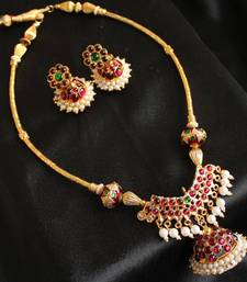 GORGEOUS UNIQUE JHUMKKA PENDANT TEMPLE JEWLE SET shop online