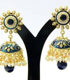 Buy BEAUTIFUL blue stone meenakari jhumka Other online