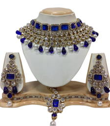 Buy blue and white necklaceset bridal-set online