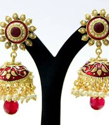 Buy BEAUTIFUL RED STONE MEENAKARI JHUMKA men-shoe online