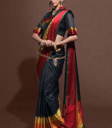 black woven tussar silk saree with blouse shop online