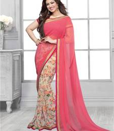 Buy Light pink printed georgette saree with blouse with blouse georgette-saree online