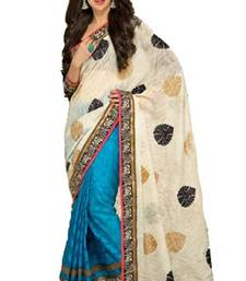 Buy Blue and White Georgette,Brasso Karishma Kapoor Stylish Saree with Blouse crepe-saree online