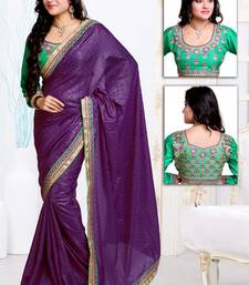 Buy Wine embroidered satin saree with blouses saree with blouse satin-saree online