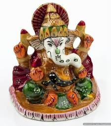 Buy Handpainted Enamelled Metal Ganapati_10 sculpture online