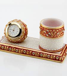 Marvel In Marble - Gold Embossed Pen Stand With Watch_50 shop online