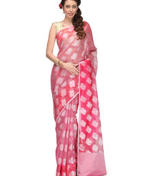 Buy rani pink woven super net saree with blouse banarasi-saree online