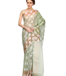 mehendi woven super net saree with blouse shop online