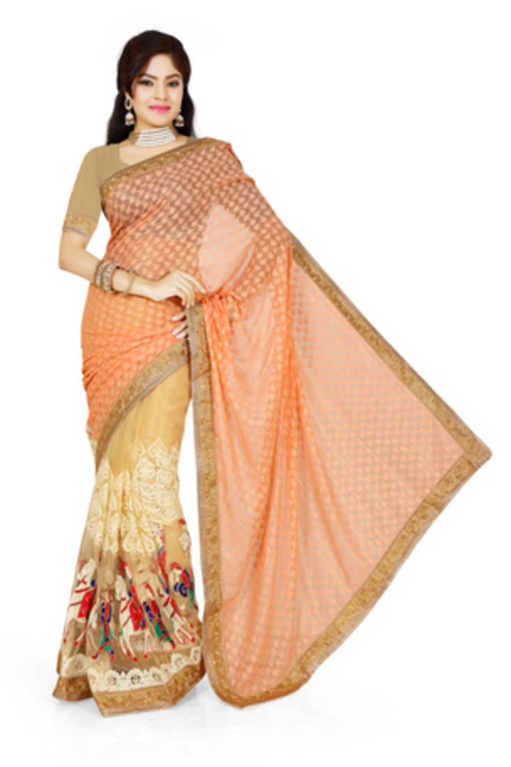 Buy Peach And Chikoo Brasso Georgette Saree With Blouse Online