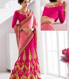 Buy pink embroidered jacquard saree with blouse wedding-saree online